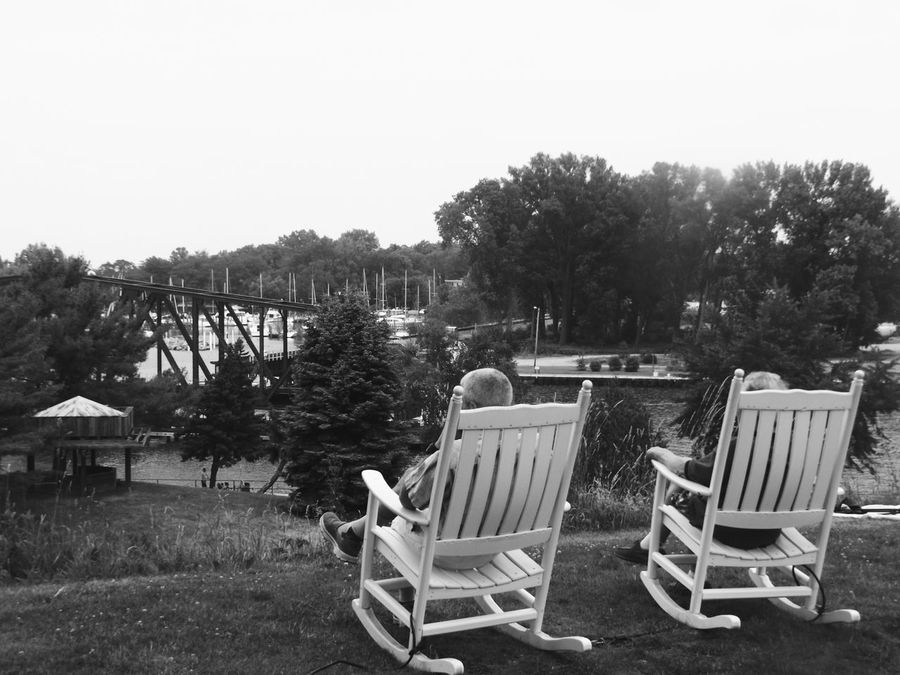 Rocking Chairs Silver Beach Mi Nature Nature Photography Relaxation Relaxing Moments Lake View Bucket List Eyeemphoto Two Is Better Than One Monochrome Photography