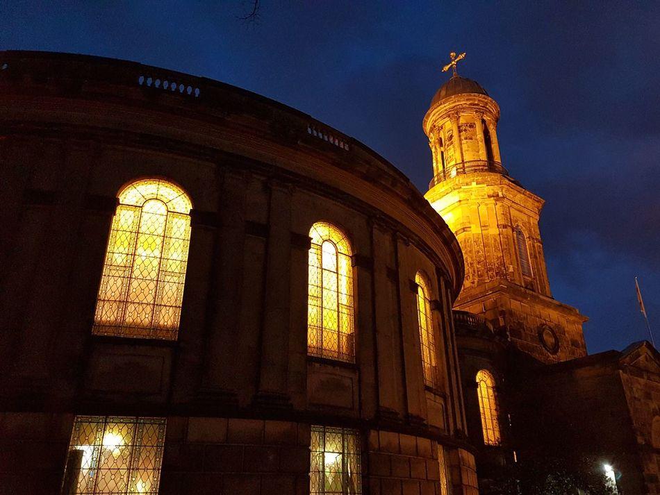 Church Lights Night Shrewsbury Dark Relegion Cross