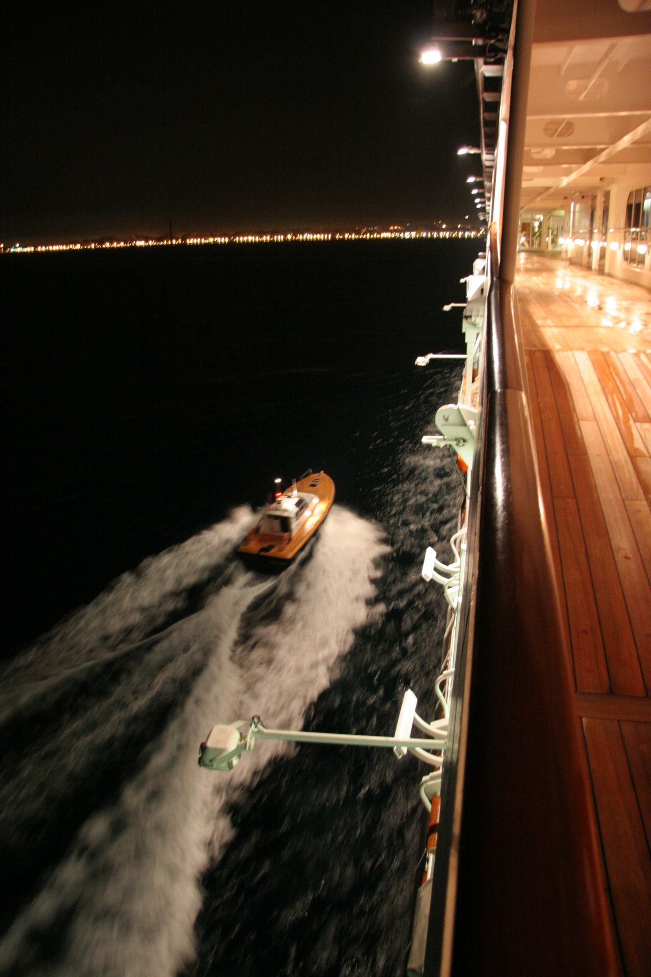 Cruise Ship Escort Escorted Gally Illuminated Nautical Vessel Night Outdoors Pilot Boat Shoreline Transportation