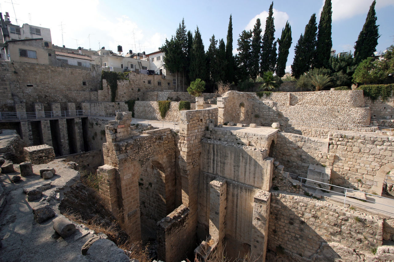 Ancient ruins of pools in the Muslim Quarter of Jerusalem Ancient Ancient Civilization Ancient History Antique Archeology Architecture City Civilization Culture Historical History Holy City Israel Jerusalem Mediterranean  Middle East Old Palestine Pool Ruin Stone Structure Wall Water