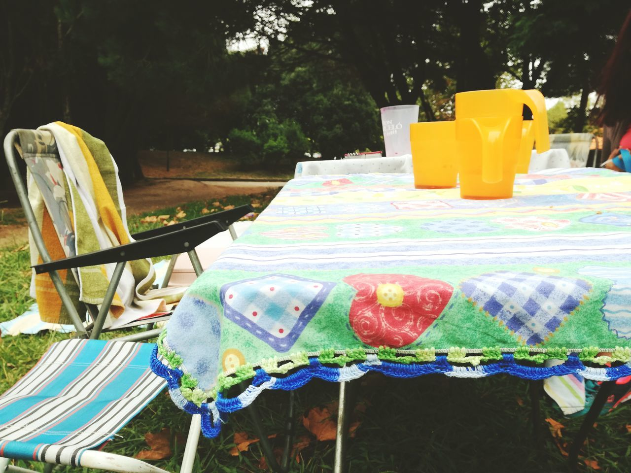 table, chair, absence, no people, multi colored, day, outdoors, food, tree, close-up, freshness
