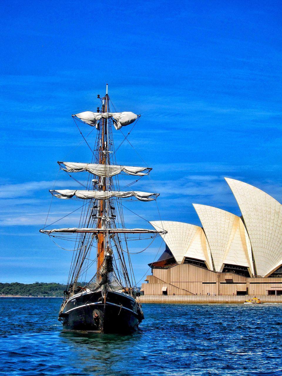 nautical vessel, outdoors, blue, transportation, day, no people, water, sailboat, sea, harbor, sky, mast, nature, tall ship