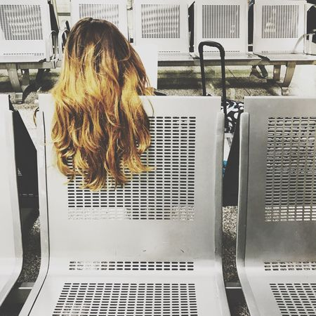 Hair...port Airport One Person Real People Rear View Technology Indoors  Blond Hair Day Young Adult People