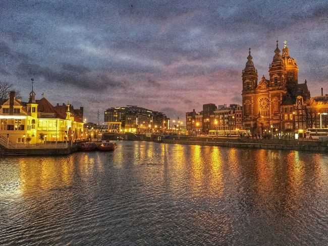 Amsterdam Amsterdamcity Architecture Beautiful Building Exterior Church City City Citylife Cloud - Sky Cloudy Dusk Holland Iamamsterdam Illuminated Netherlands Niederlande Night Place Of Worship Reflection River Sky Sunset Water Waterfront