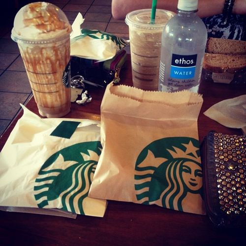 Seriously im so fucking addicted to Starbucks it's not even funny.& I even got the venti caramel frap for free :) Starbucks Coffee Instagasm
