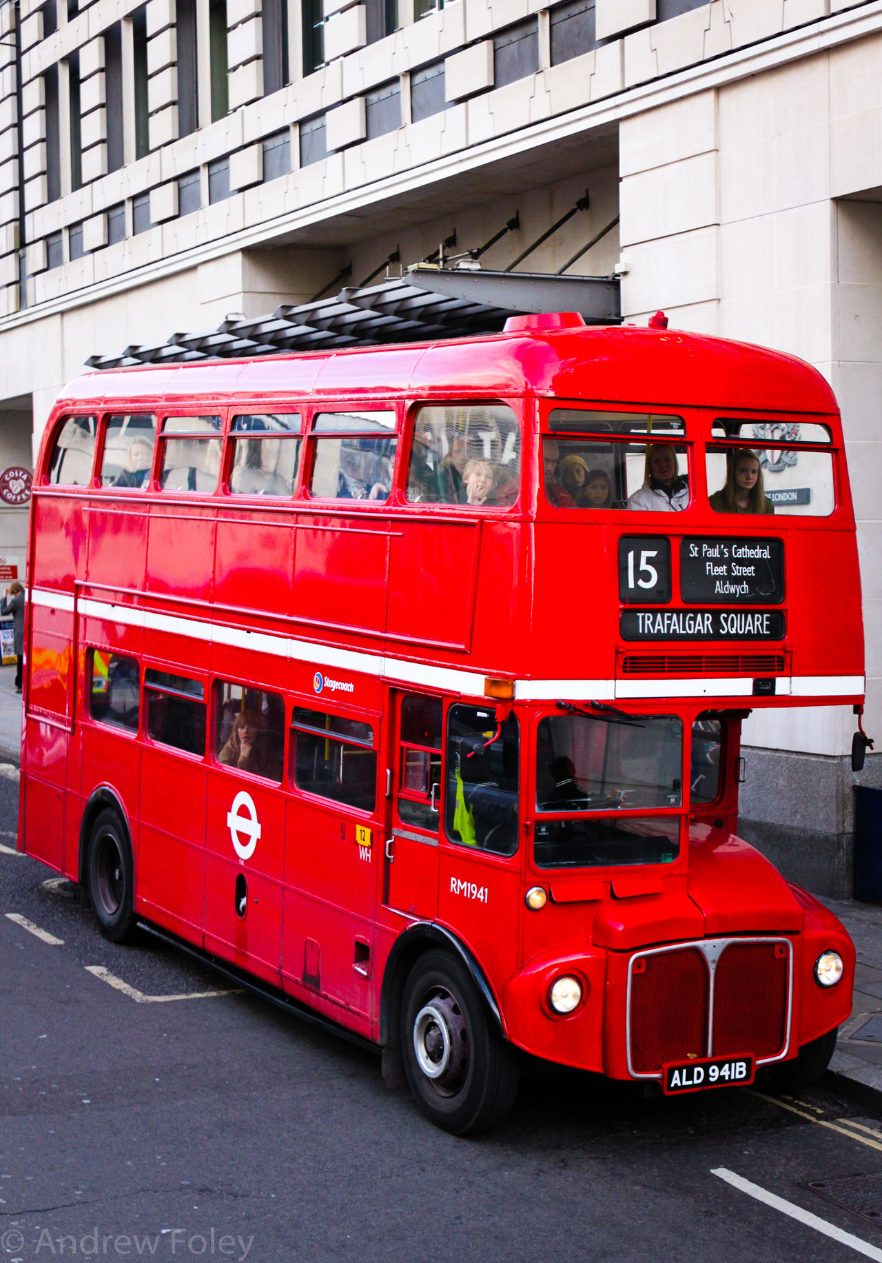 AEC Routemaster Bus Land Vehicle London London Bus No. 15 Bus Old London Bus Red Trafalgar Square