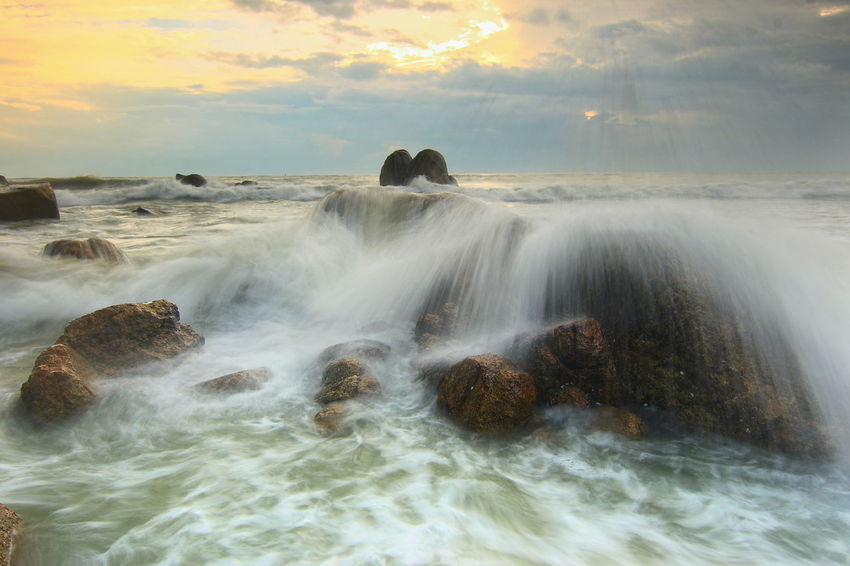 Sunrise Rock - Object Motion Nature Beauty In Nature Long Exposure No People Outdoors Day Sea Wave Water Landscape Beauty Beach Sky Horizon Over Water