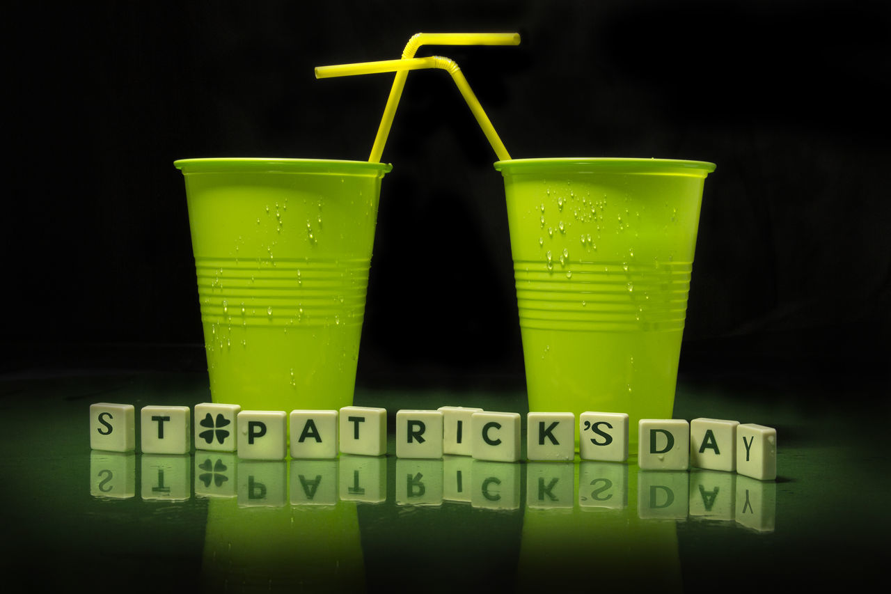 Black Background Drink Drinking Glass Drinking Straw Green Color Green, Letters, Clover, Cups, Feast, St Patricks Day, Patricks Day, Green Day, Reen Glasses Green, Letters, Clover, Cups, Feast, St Patricks Day, Patricks Day, Green Day, Reen Glasses, Text