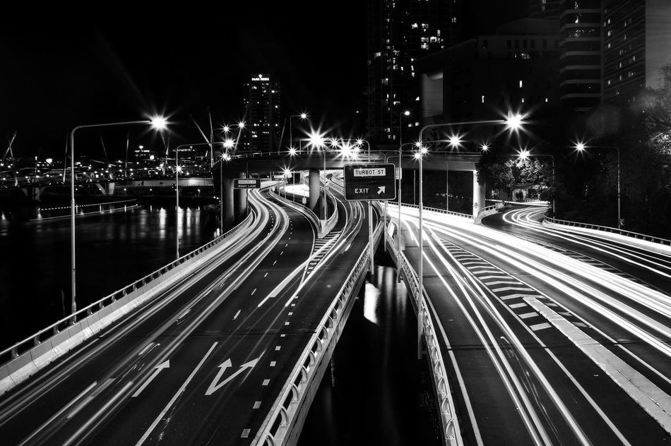 Welcome To Black Welcome To Black Night Longexposure City Lights City Brisbane Exposure Blackandwhite Photographing Photography Lifestyles Austraila Canon QLD EyeEmNewHere The City Light Architecture Travel Destinations Photo Photographie