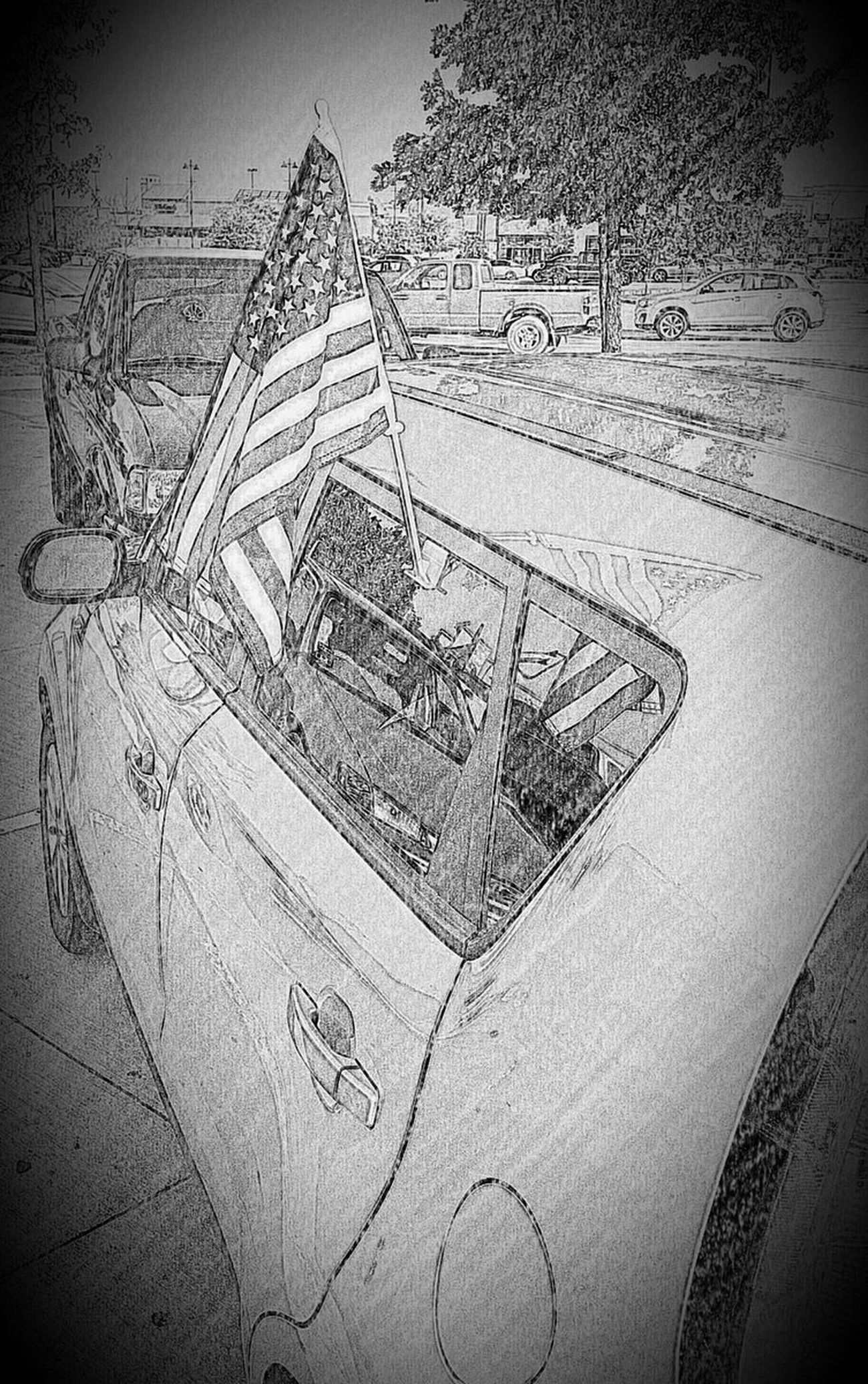 American Parking Lot Faux Drawing Kia Kia Soul Parking Lot Reflection In The Window Soul USA Flag,