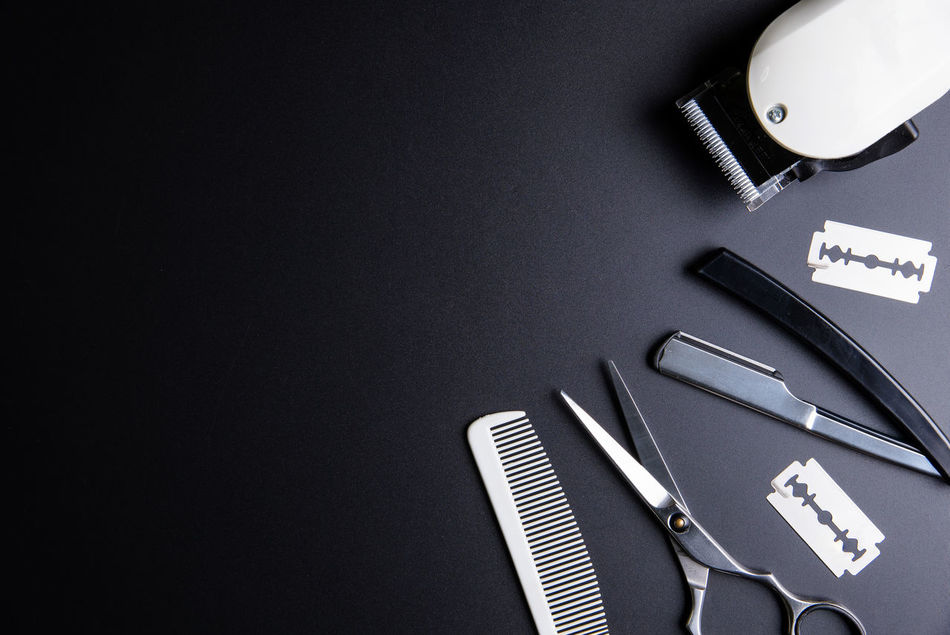 Razor, Stylish Professional Barber Scissors, White comb and White electric clippers on black background. Hairdresser salon concept, Hairdressing Set. Haircut accessories. Copy space image, flat lay Accessory Background Barber Closeup Comb Cut Cutting Design Equipment Fashion Hair Hair Salon Hair Style Haircut Hairdresser Hairsalon Hairstyle Hairstyles Hairstylist No People Professional Salon Scissor Sharp Technology
