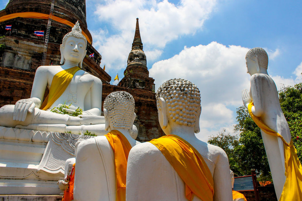 Buddhist statues in Ayuthaya, the old capital of Thailand. This is taken at Wat Yai Chai Mongkol.