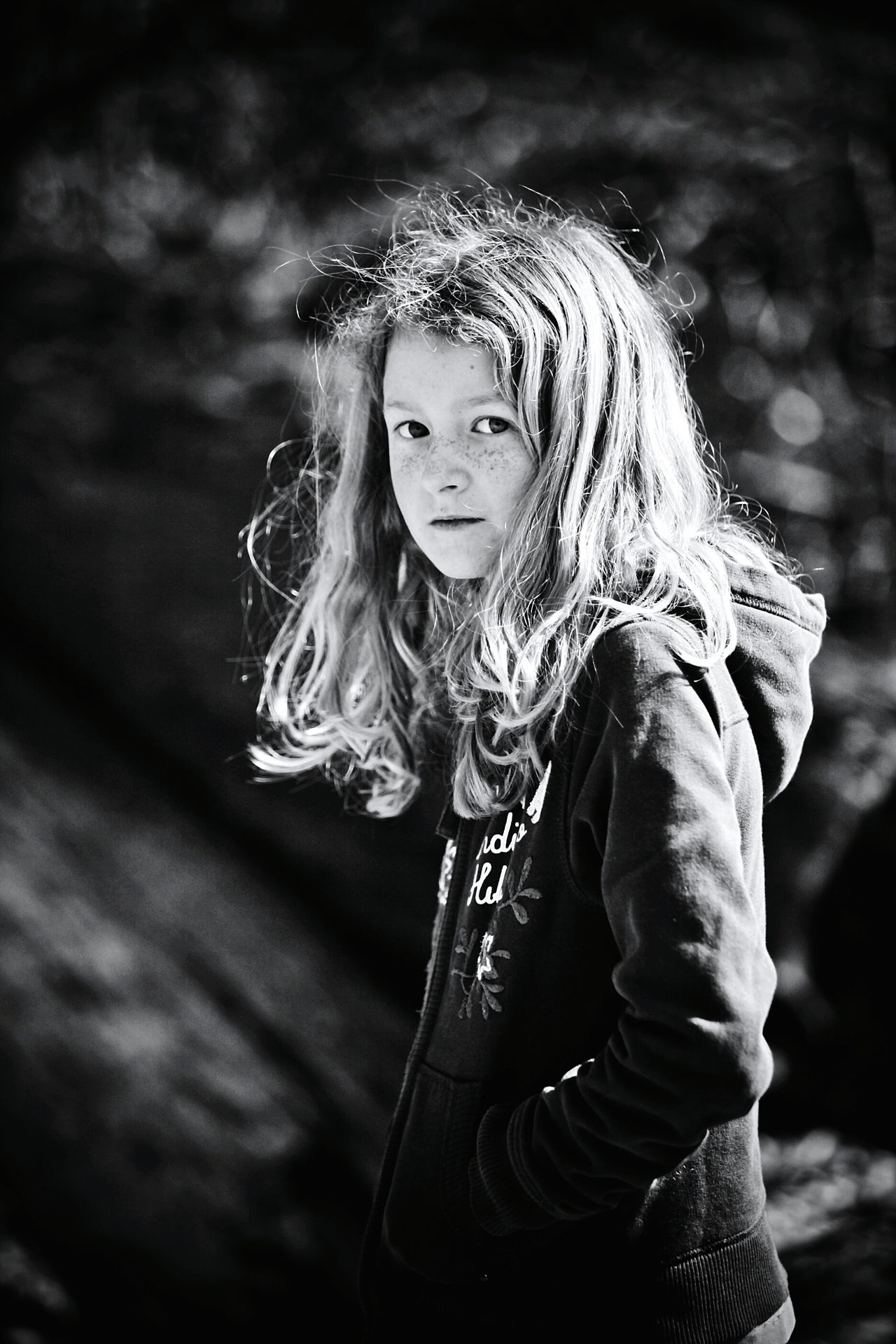 Portrait Child Beauty Fashion One Girl Only One Person People Close-up Hair Childhood Black & White Black And White Blackandwhite Children Photography Beautiful People Freckles Freckled EyeEmNewHere