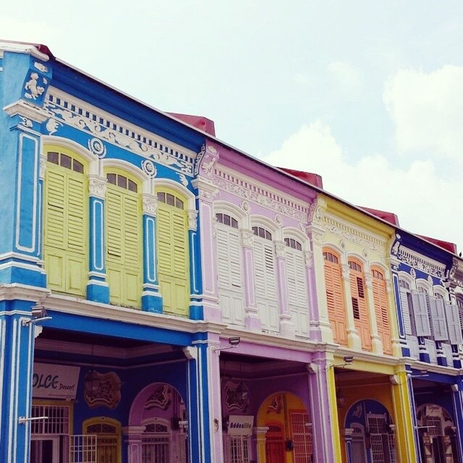 """""""Everybody on the planet has all the colors of the rainbow inside."""" - Alexia Fast Rainbow Colors Colorsplash Building Exterior Peranakan Heritage Traditional Blue Yellow Pink Motif  Eye Em A Traveller Traveling in Penang Penang Malaysia Malaysia Truly Asia Color Of Life"""