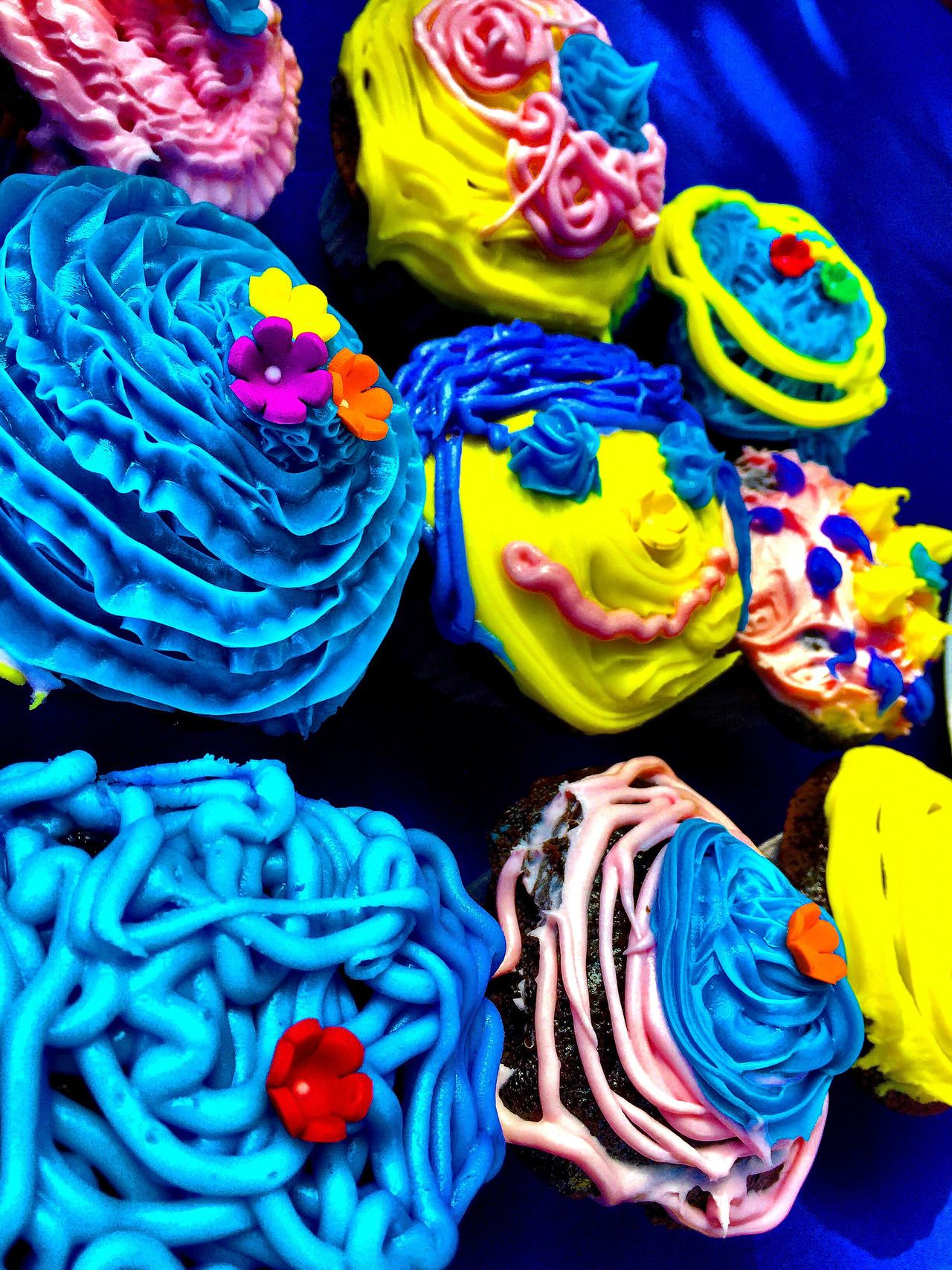 Visual Feast Multi Colored Sweet Food Choice Retail  For Sale Blue No People Variation Food Indoors  Close-up Freshness Day Cupcakes Primary Colors Frosting The Week On EyeEm EyeEm New Here