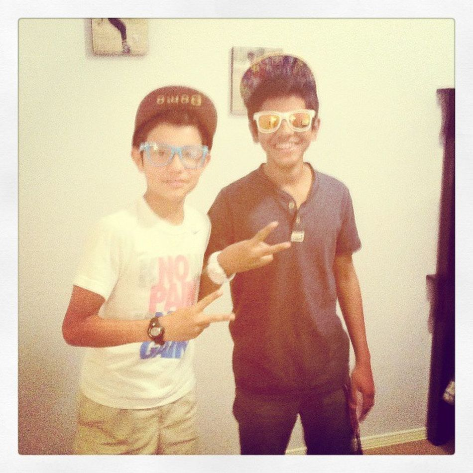 At Emiliano's house being pimps with his friend Daniel Pimps