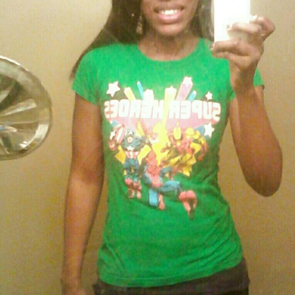 I wear my green #marvelcomics t-shirt at least twice a week :-D. It's the only one that fits properly and the only one I have with #ironman, #spiderman, and #captianamerica (my favorite characters) all on one shirt. :-3 Captianamerica Peterparker Spiderman Outfit Comics Ootd Ironman Marvel Superheros Fangirl Outfitoftheday Favoriteoutfit  SteveRogers Marvelcomics Marveluniverse Tonystark