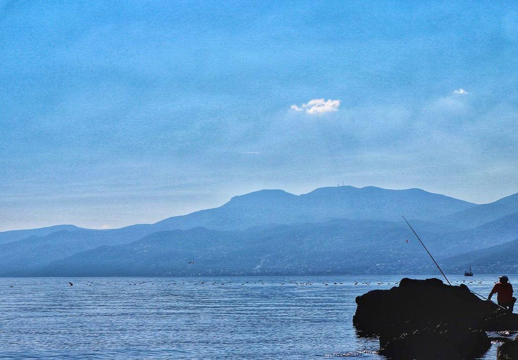 Sea Sky Sea And Sky Blue Birds Rock Fisherman Rod Beautiful Nature Mountain Photography The Great Outdoors - 2017 EyeEm Awards