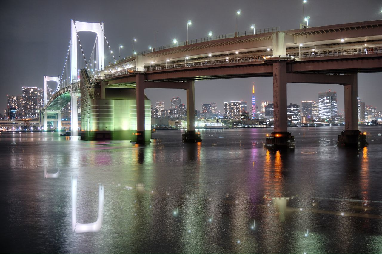 Architecture Bridge - Man Made Structure Night Illuminated Water Reflections Night Lights Tokyo Night Night View Bridge
