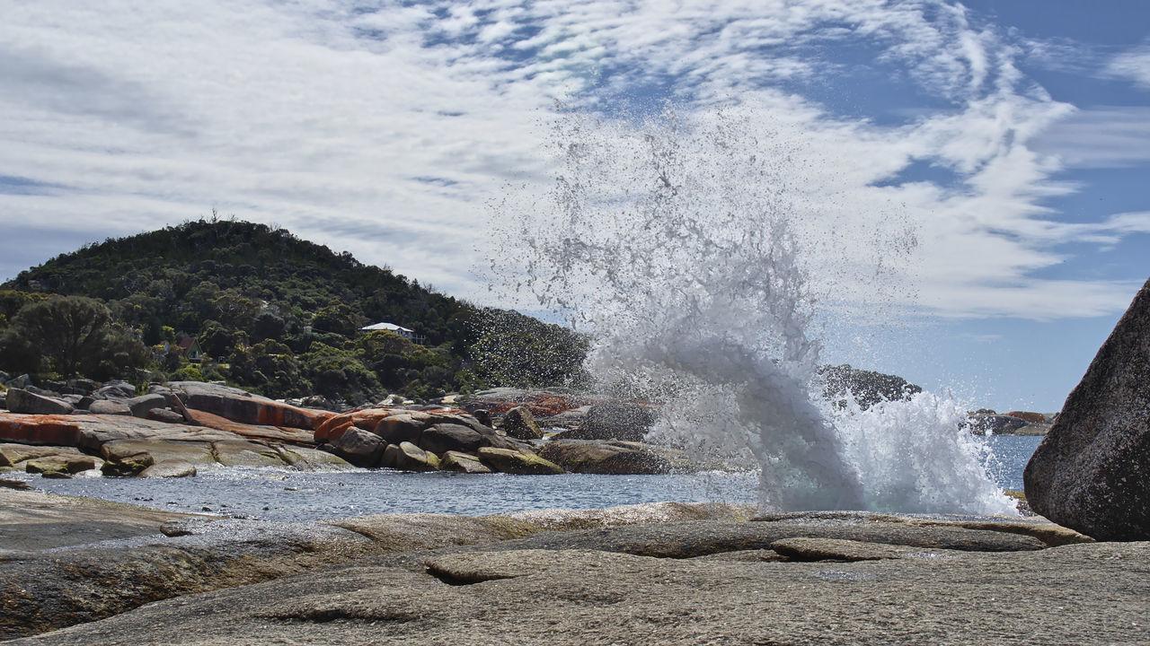 The blowhole at midday Water Motion Sea Beach Splashing Nature Beauty In Nature Sky Power In Nature Mountain Majestic Blowhole Bicheno Tasmania Eyeem Australia Olympus OM-D E-M5 Mk.II