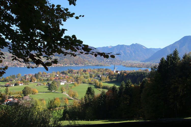 Tegernsee, Bad Wiessee Beauty In Nature Blue Clear Sky Day Growth Landscape Mountain Mountain Range Nature No People Outdoors Scenics Sky Tranquil Scene Tranquility Tree Water