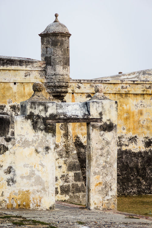 Detail of a segment of the fortified wall at Cartagena, Colombia. Caribbean Castle Coast Colonial Style Colony Defense Defense Architecture Defensive Structure Dome Famous Place Fortified Wall Fortress Heroic History Landmark Old Pirate Portrait Post Ruin Spanish Stone Tourism Travel
