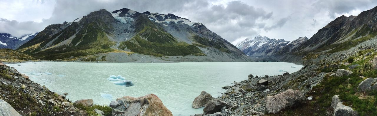 Mountain Water Mountain Range Cloud - Sky Scenics Rock - Object Beauty In Nature Nature Outdoors Tranquil Scene Sky Tranquility Day Lake No People Mountain Peak Glacier Ice Panoramic View Hiking Mount Cook Wilderness Lake View New Zealand Mountains