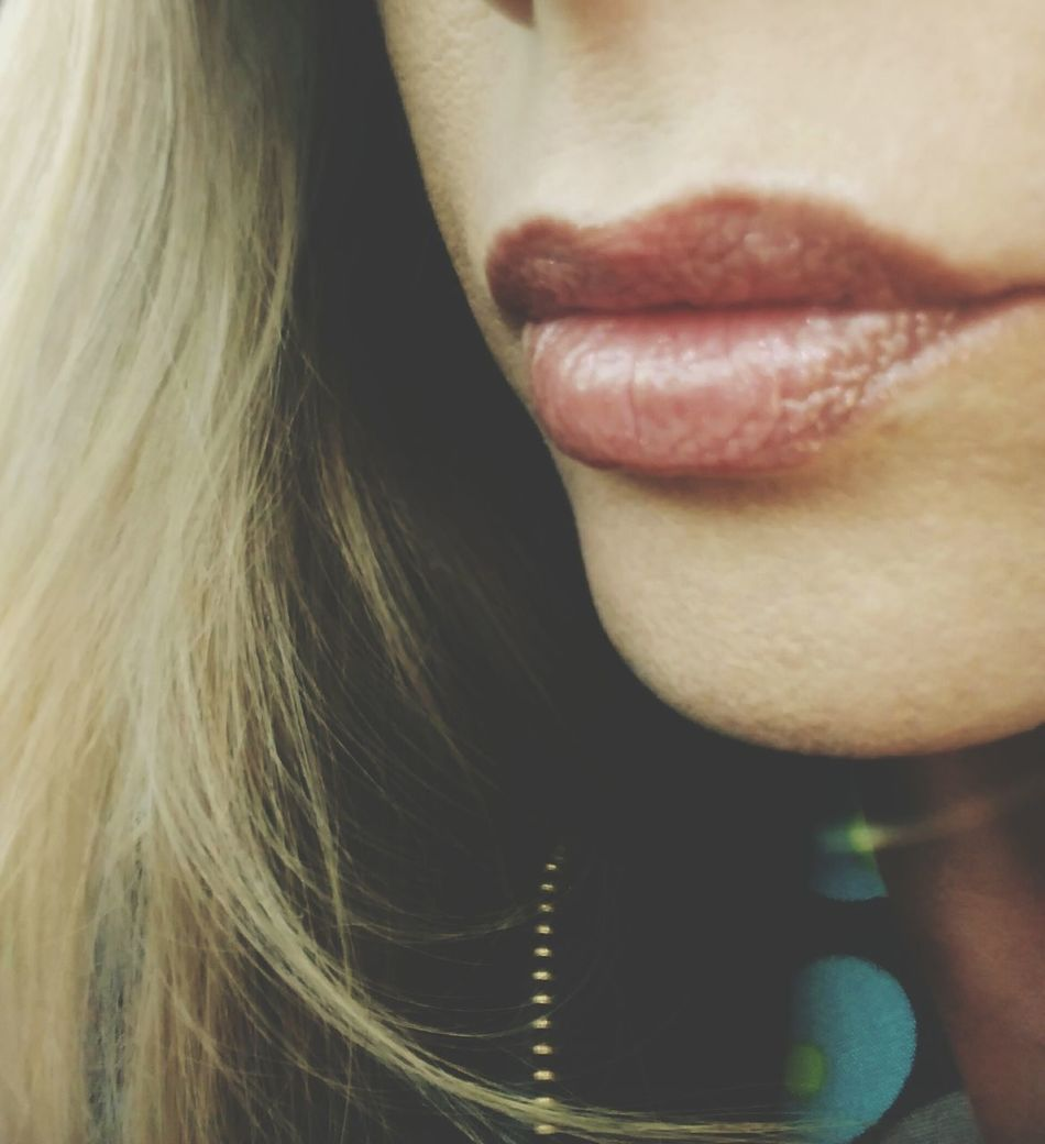 Human Lips One Woman Only Close-up Human Body Part Women Front View Fashion Long Hair Day Woman Lips Millennial Pink