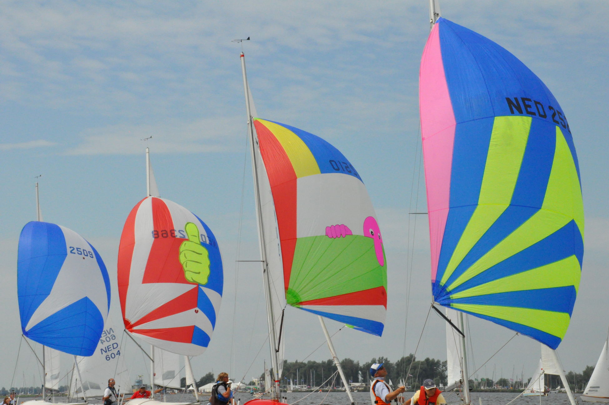 Spinnakers in line Leisure Activity Lifestyles Multi Colored Regatta Rope Of Pearls Sail Sailboat Sailing Spinnaker