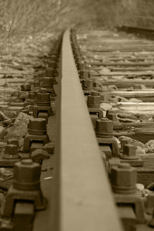 Close Up Railway Nature Close-up Outdoors Rail Transportation Rail Way Screw Stones Tracks