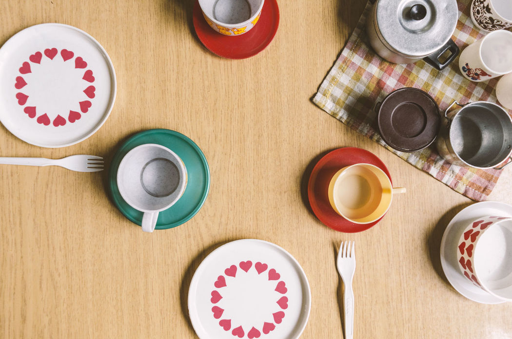Who can remember? Childhood Children Close-up Cup Day DDR Directly Above Drink Food And Drink Fork Freshness GDR High Angle View Indoors  Kindergarden Kita No People Oldschool Plate Refreshment Table Tea - Hot Drink Vintage Vintage Photo Wood - Material