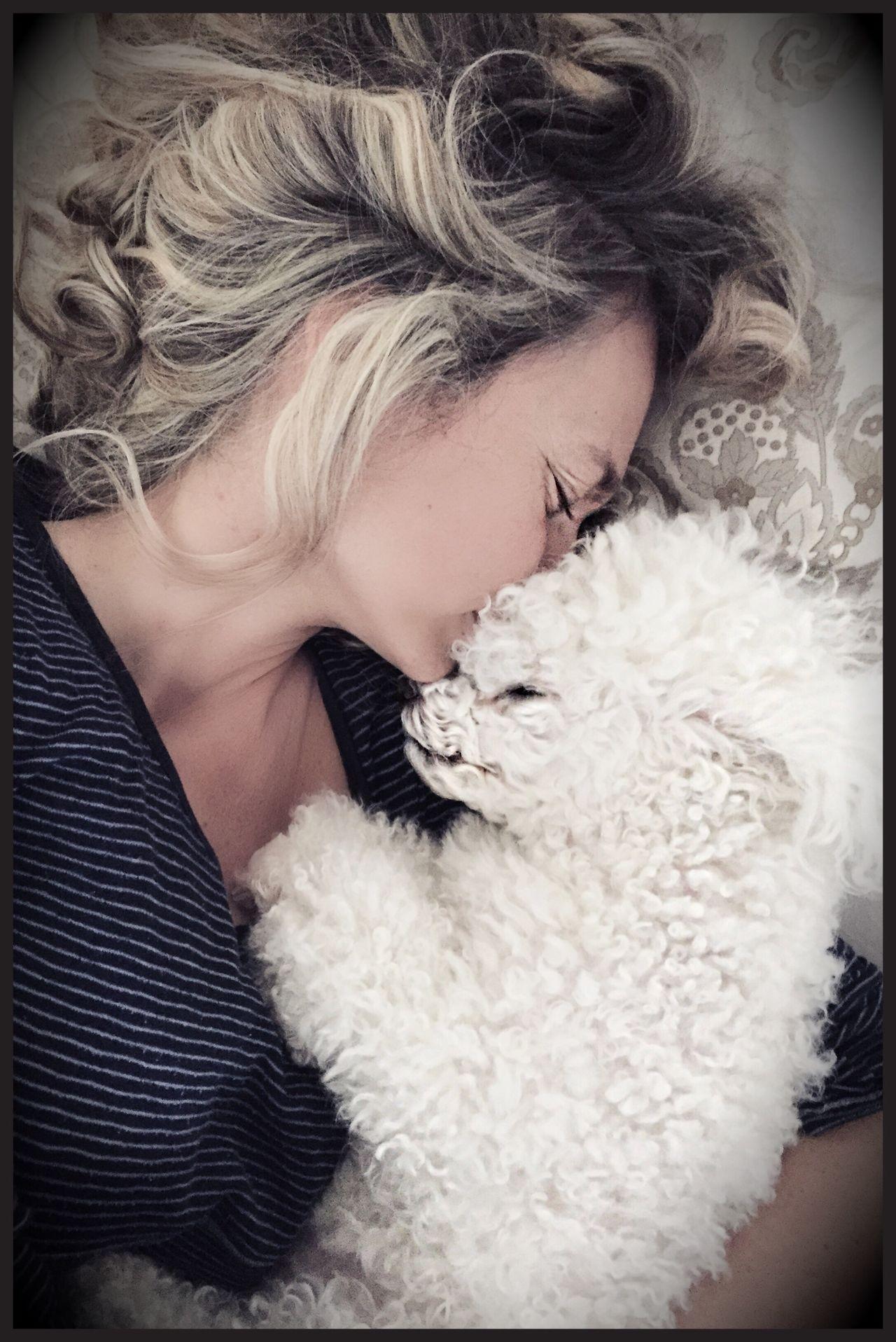 Lifestyles Leisure Activity Fur Pets Poodle Poodletoy Women Sleeping Sleeping Dog Togetherness Loyalty Hug