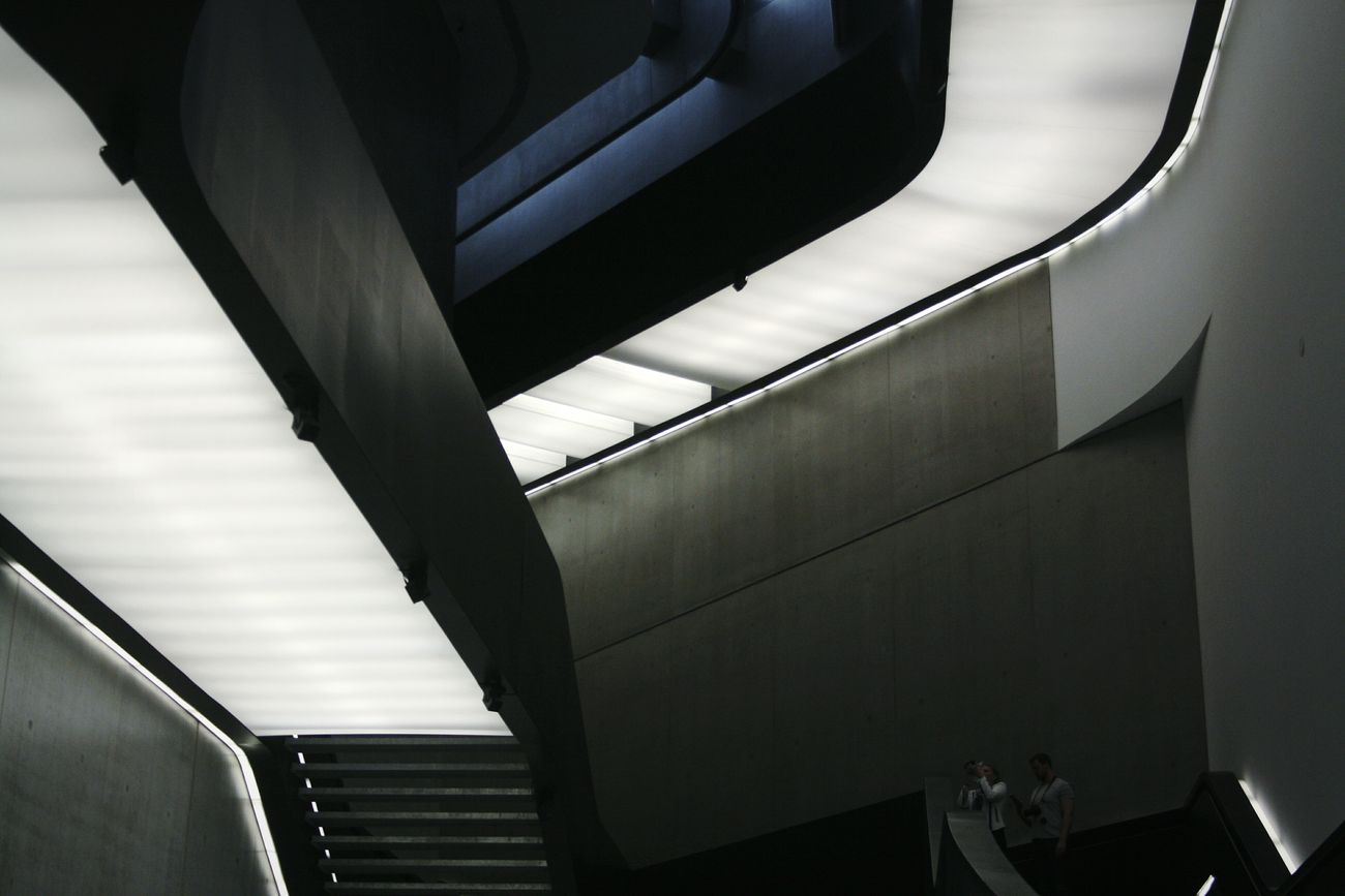 Architecture Indoors  Built Structure Day Black Color MAXXI Roma MAXXI Low Angle View Modern Corridor MAXXI Museum Rome Italy Futuristic Rome Light Arts Culture And Entertainment Art Connection Friendship Togetherness Two People Standing Occupation
