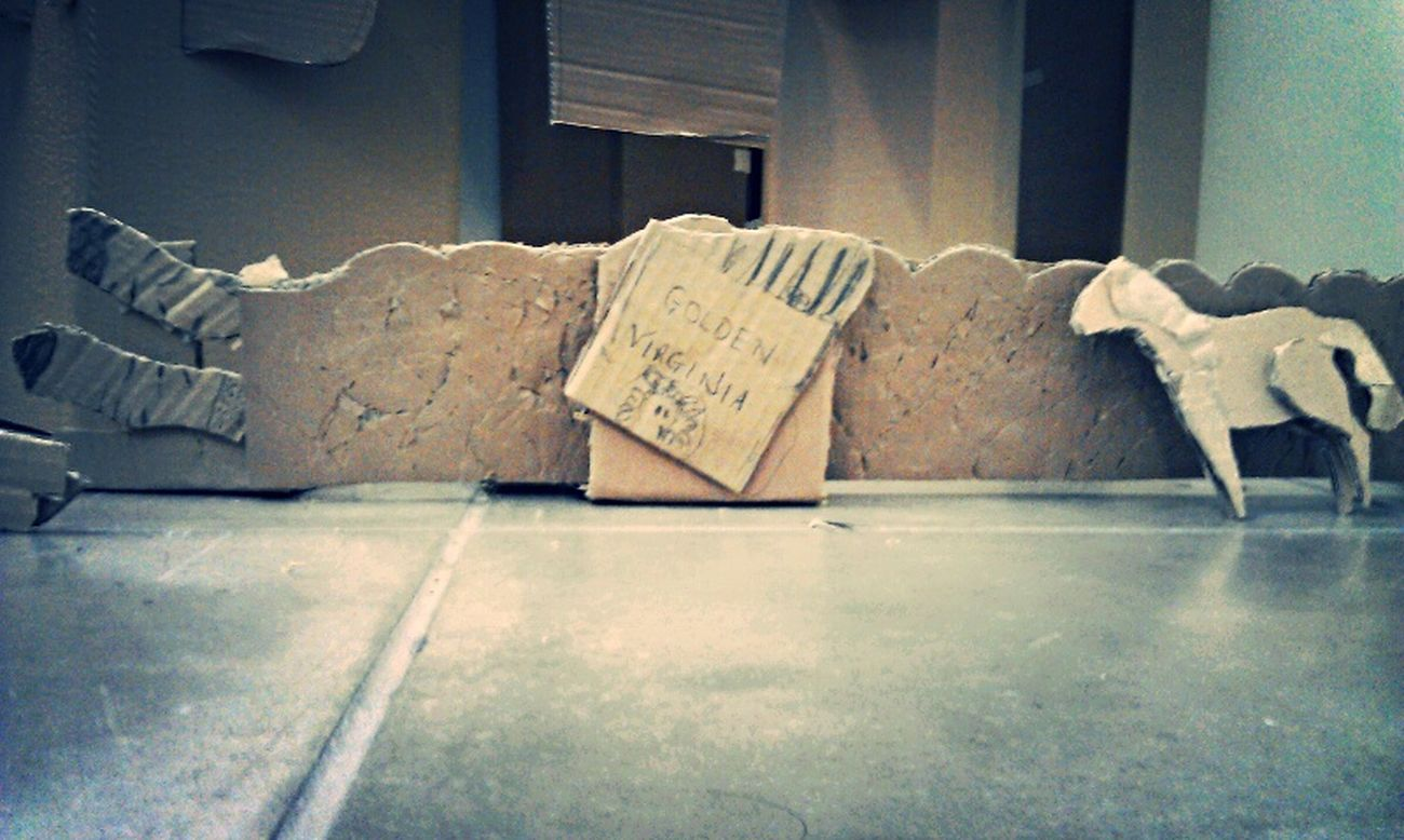 Cardboard Art Installation Composition