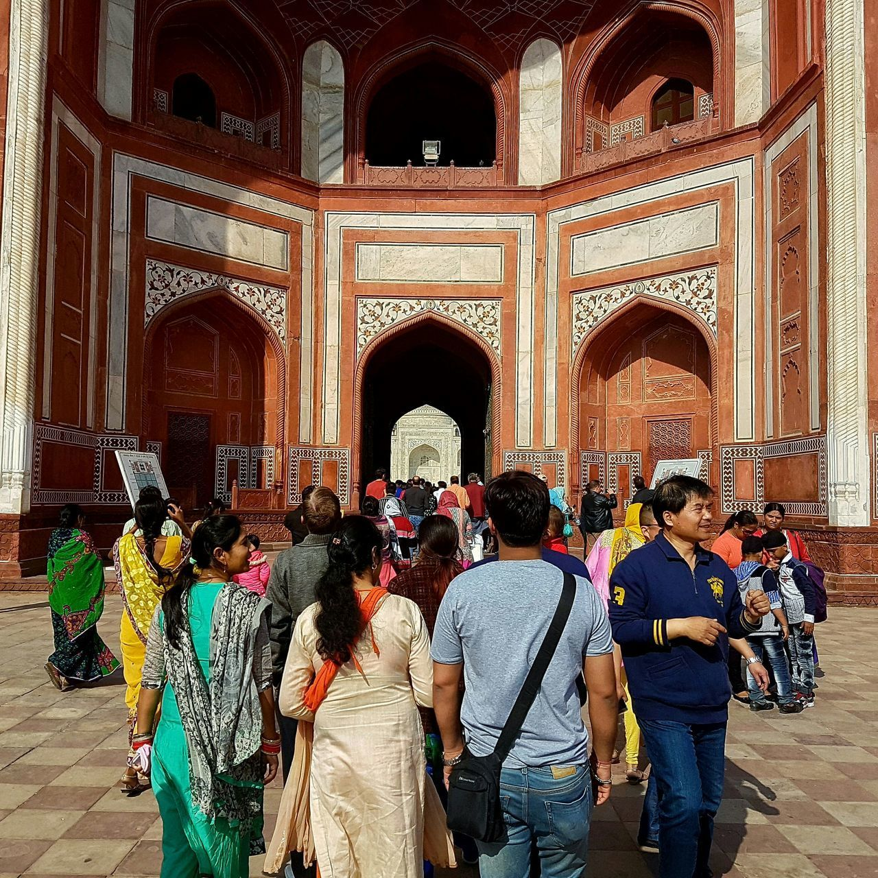 Large Group Of People Travel Destinations Religion Architecture Men Built Structure Tourism Women Indoors  Arch Real People Place Of Worship People Adult Crowd Day Taj Mahal Mughalarchitecture Galaxys7 GalaxyS7Edge Seven Wonders Of The World Taj Mahal, Agra Gate