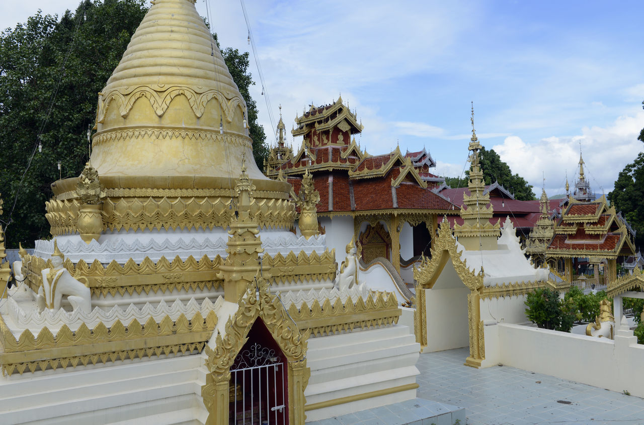 religion, spirituality, place of worship, gold colored, architecture, pagoda, travel destinations, built structure, building exterior, day, no people, sky, outdoors