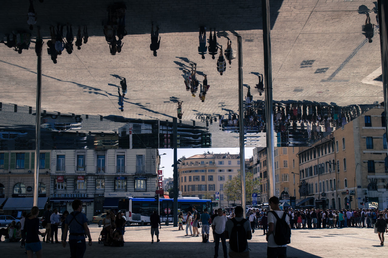 Norman Foster's pavillion in the old port of Marseille, France. Art City City Life France French Large Group Of People Marseille Mirror Modern Pavilon Public Public Art Reflection Reflective Square Street Structure Town Travel Destinations