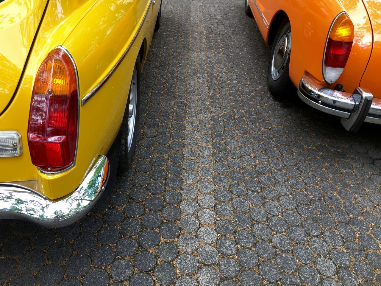 two is better than one :) Automobile Berlinstagram Bright Colors Car Cars Couple Couples Karmann Ghia MG  Old Cars Oldtimer Orange Parking Street Streetphotography Taillights Two Is Better Than One Urbanphotography Vintage Cars Yellow