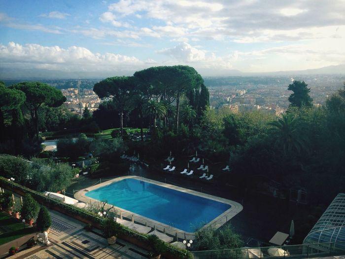 Hotel Hilton Hotel Hilton Roma Rome Swimming Pool Pool Sun Clouds Sky