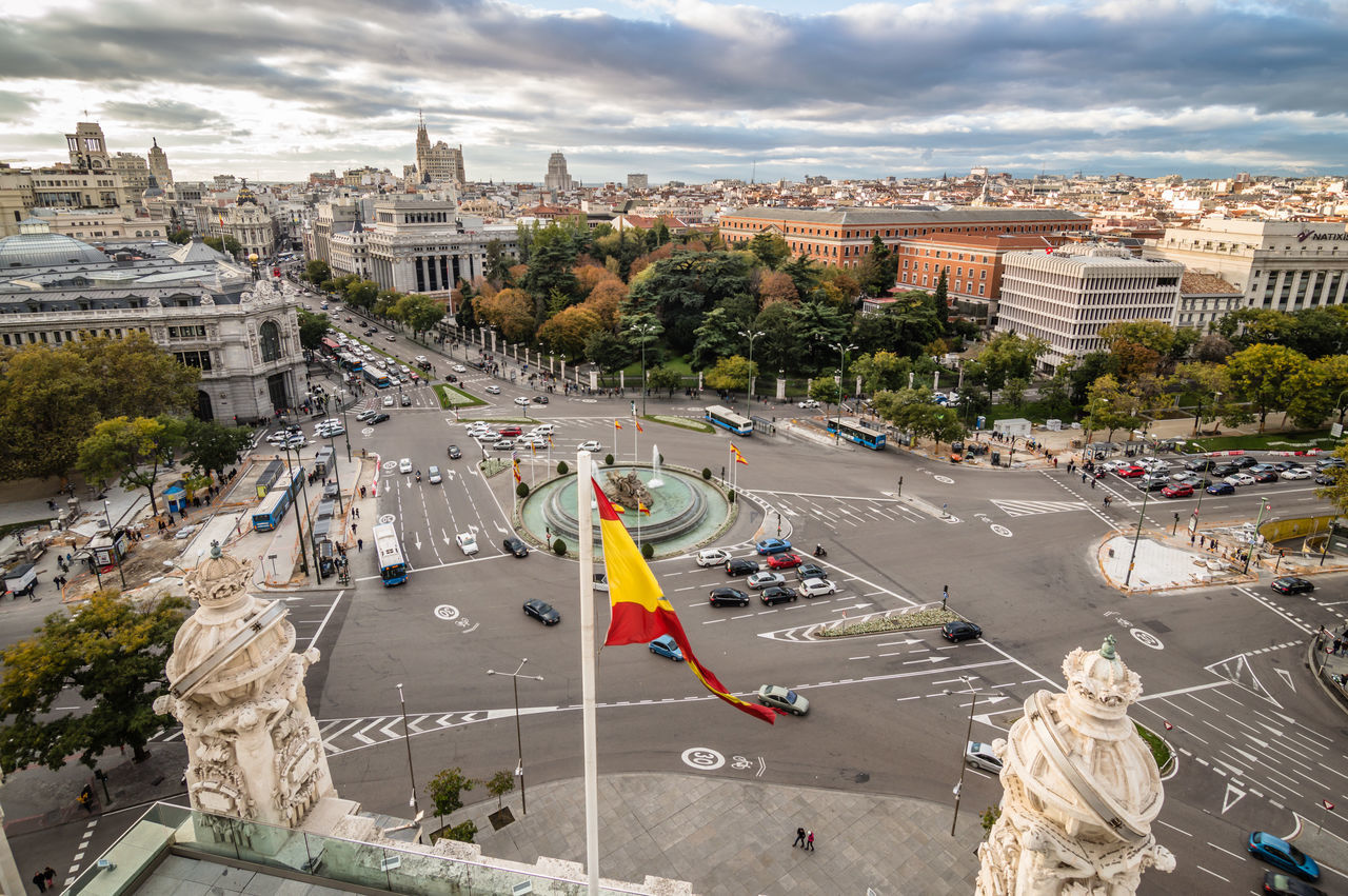 Madrid skyline from town hall at sunset Aerial View Architecture Capital Cities  Cibeles City City City Life City Street Cityscape Cityscape Cloud - Sky European  Flag High Angle View Madrid No People Outdoors SPAIN Spanish Flag Street Sunset Traffic Travel Destinations Urban Urban Skyline