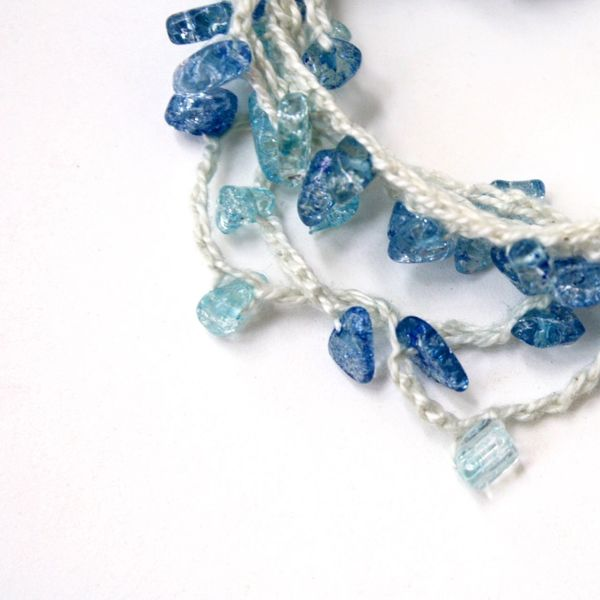 Check This Out Wrap Bracelet Necklace Anklet Jewelry Crochet Sea Glass Blue Handmade Jewellery Etsyshop PureWhiteSugar Linkinbio Product Photography