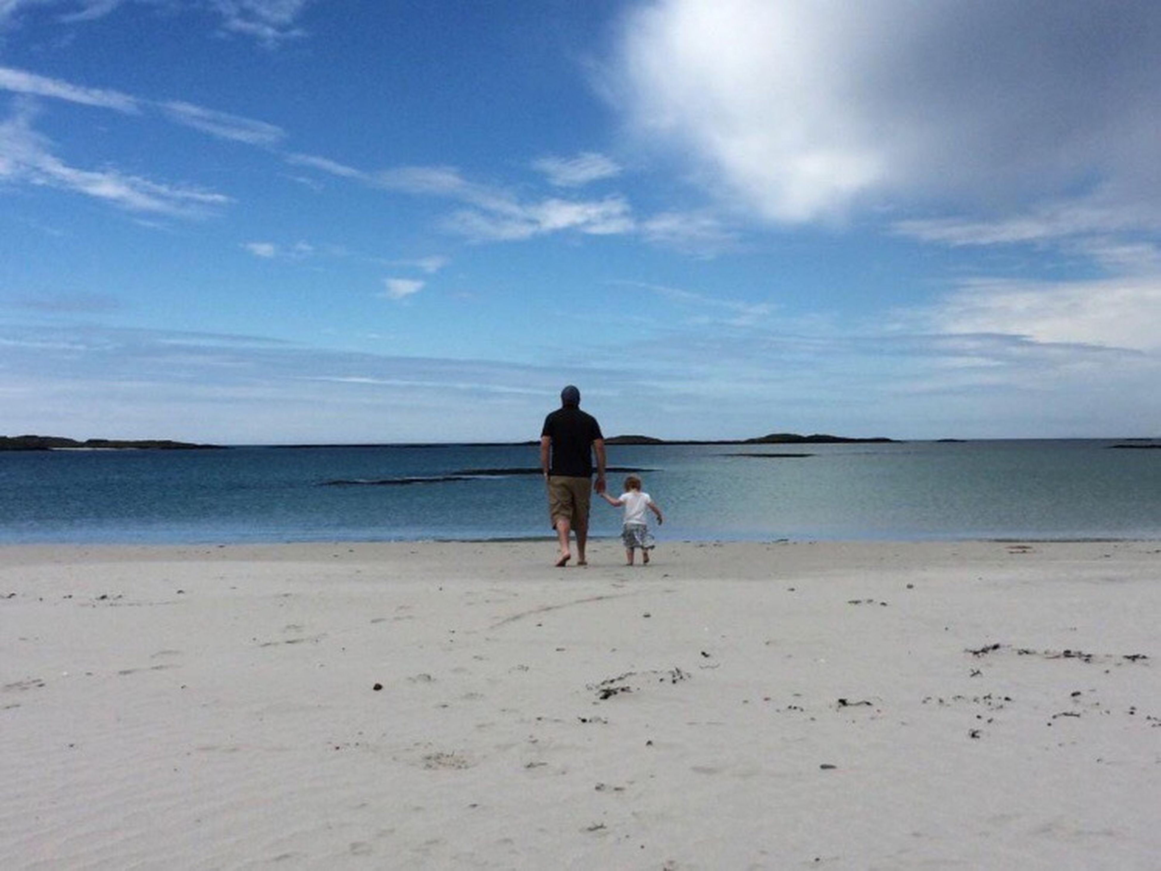 Beach Sea Sky Sand Togetherness Real People Horizon Over Water Nature Leisure Activity Men Love Rear View Full Length Bonding Family With One Child Pets Beauty In Nature Lifestyles Walking Water Father And Daughter Scotland