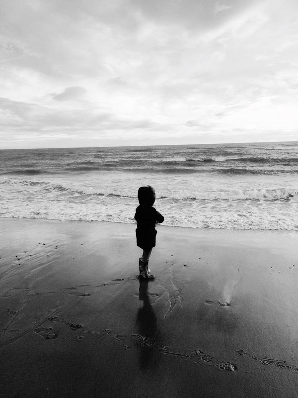 Black & White Beach Thinking Lostinthought
