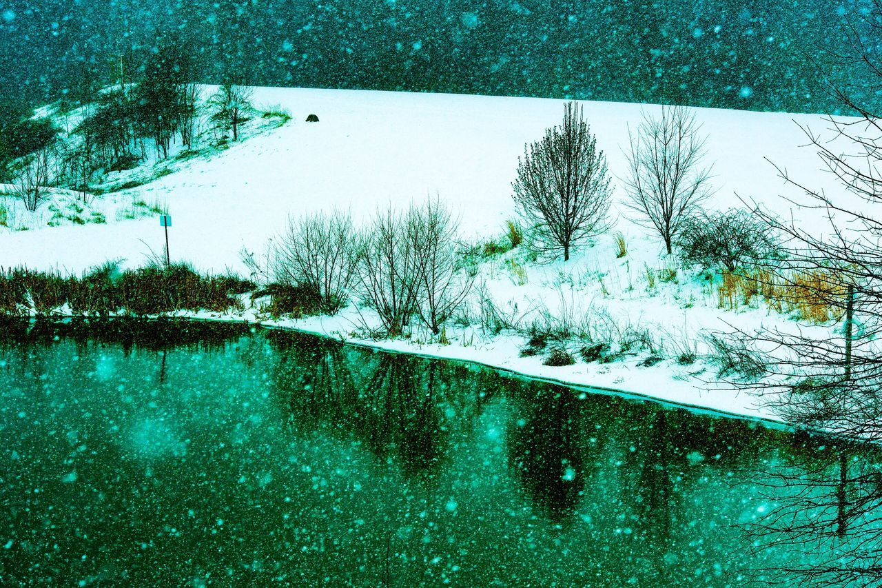 Reflection Nature Snow Winter Tree Water Beauty In Nature Cold Temperature Tranquility No People Tranquil Scene Day Outdoors Lake Scenics JGLowe Landscape Snowing