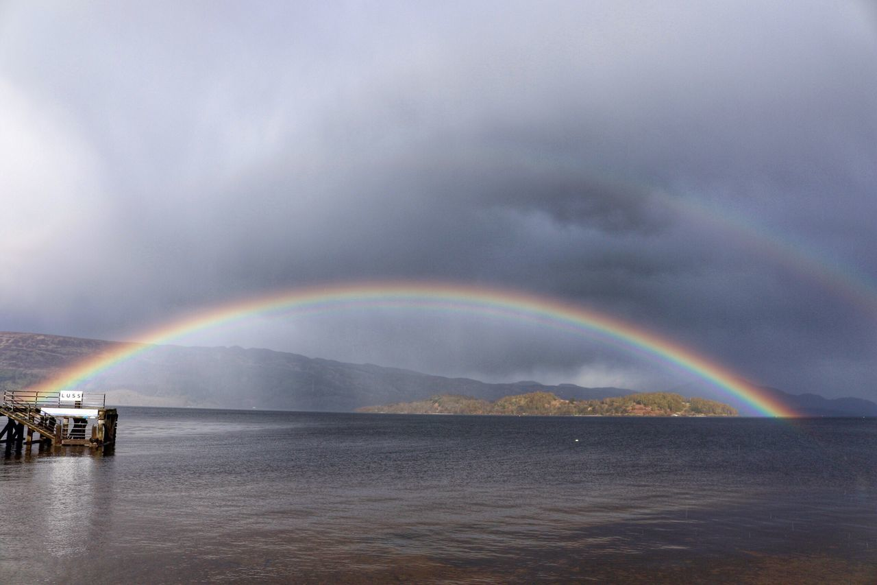 Rainbow Weather Beauty In Nature Scenics Nature Sky No People Tranquility Cloud - Sky Outdoors Double Rainbow Idyllic Tranquil Scene Dramatic Sky Storm Cloud Water Waterfront Storm Mountain LochLomond Travel Photography Scotland Double Rainbows