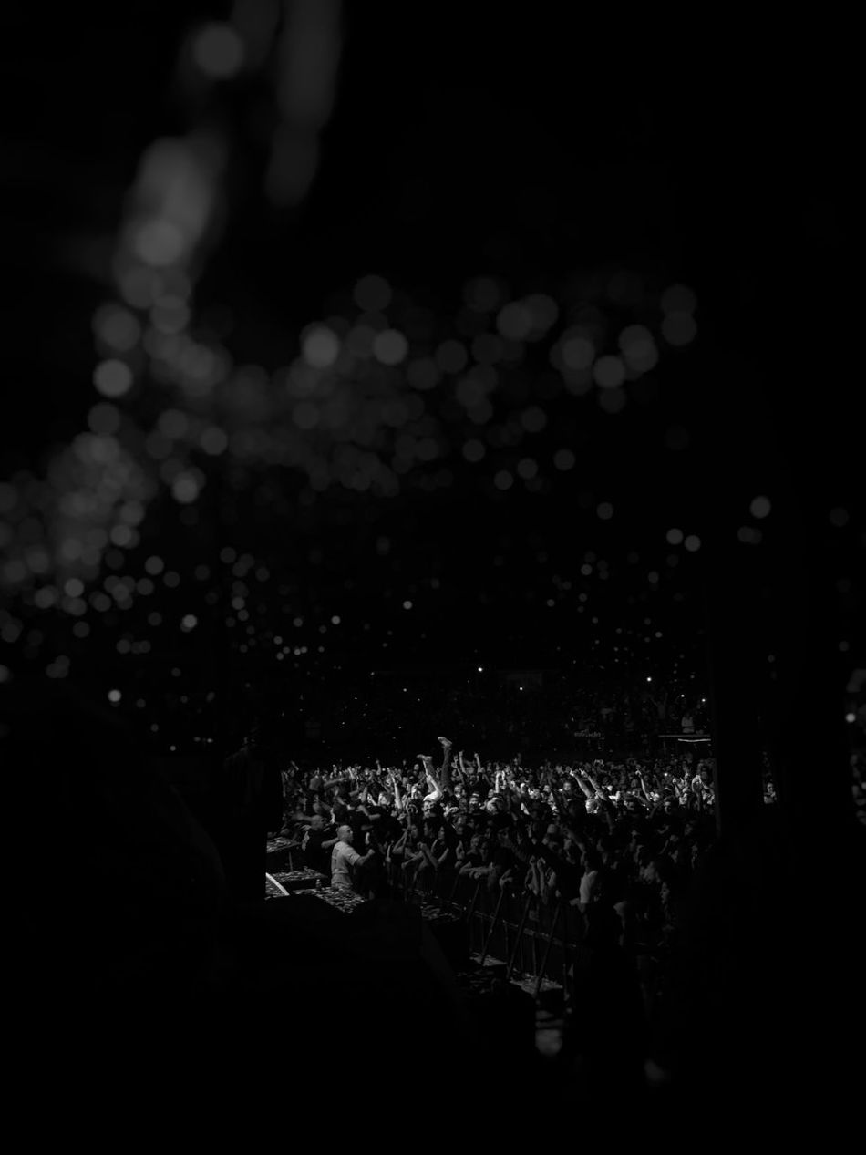 Crowd Large Group Of People Music Nightlife Stage - Performance Space Black Background Event Blink182 Popular Music Concert Blackandwhite Photography
