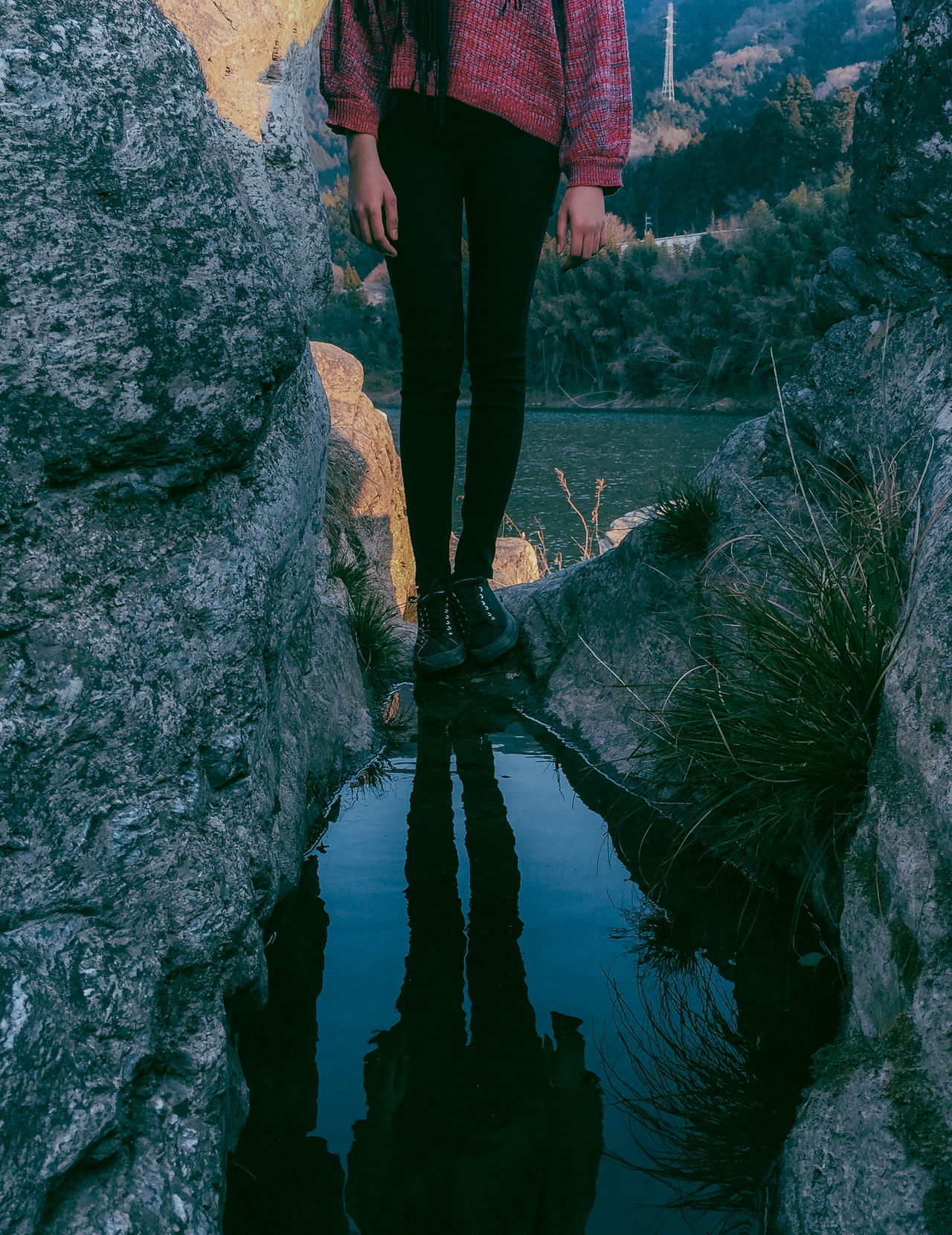 // paused // Beauty In Nature Blue Day Girl Human Leg Lake Lifestyles Live For The Story Low Section Mirror Nature One Person Outdoors Real People Reflection Reflection_collection Reflections Rock - Object Shootermag Shootermagazine Standing The Great Outdoors - 2017 EyeEm Awards Walking Water Women