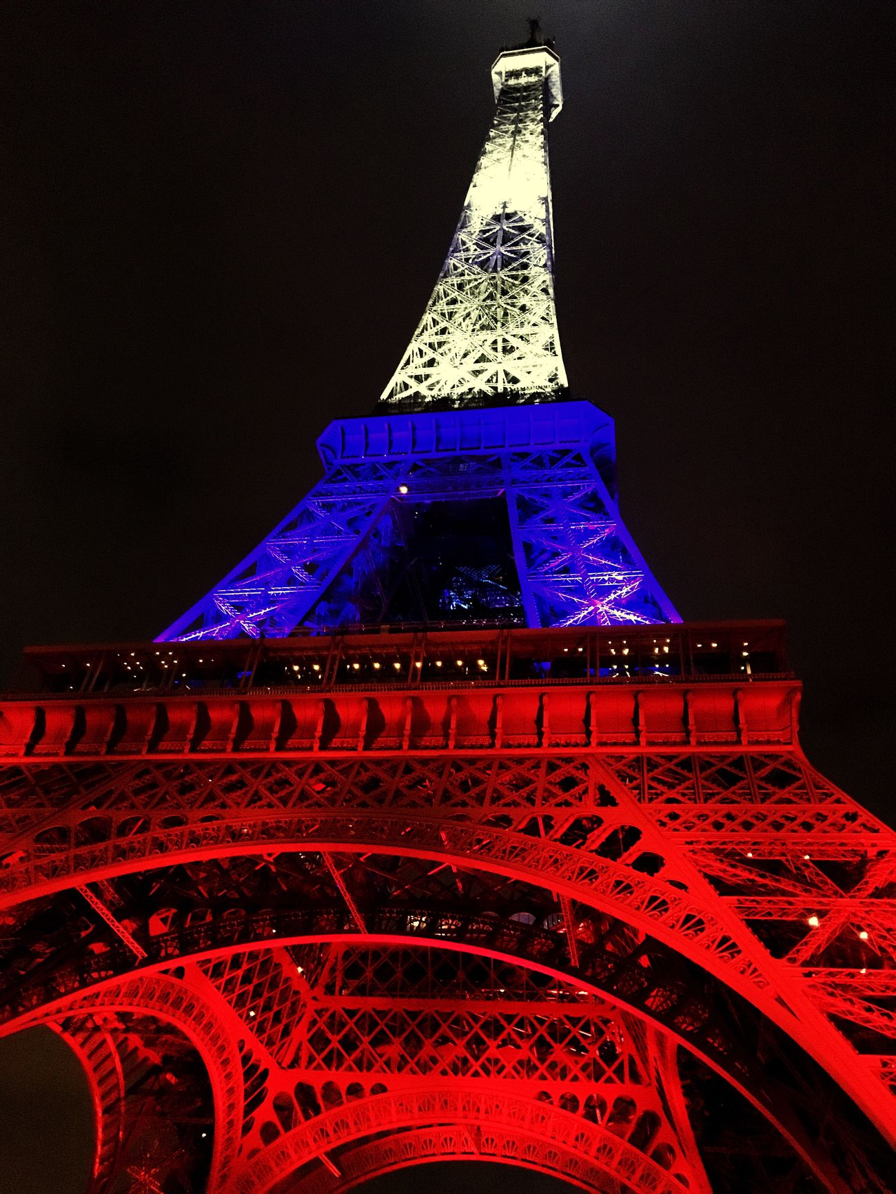 Eiffel Tower By Night Eiffel Tower Paris France Travelling French Flag