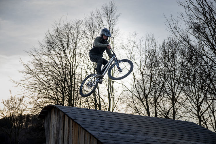 Adventure Bad Salzdetfurth Bicycle Bikepark Cycling Delemo Extreme Sports Jump Jumping Leisure Activity Low Angle View Mountainbike One Person Outdoors Skill  Sky Sport Tree