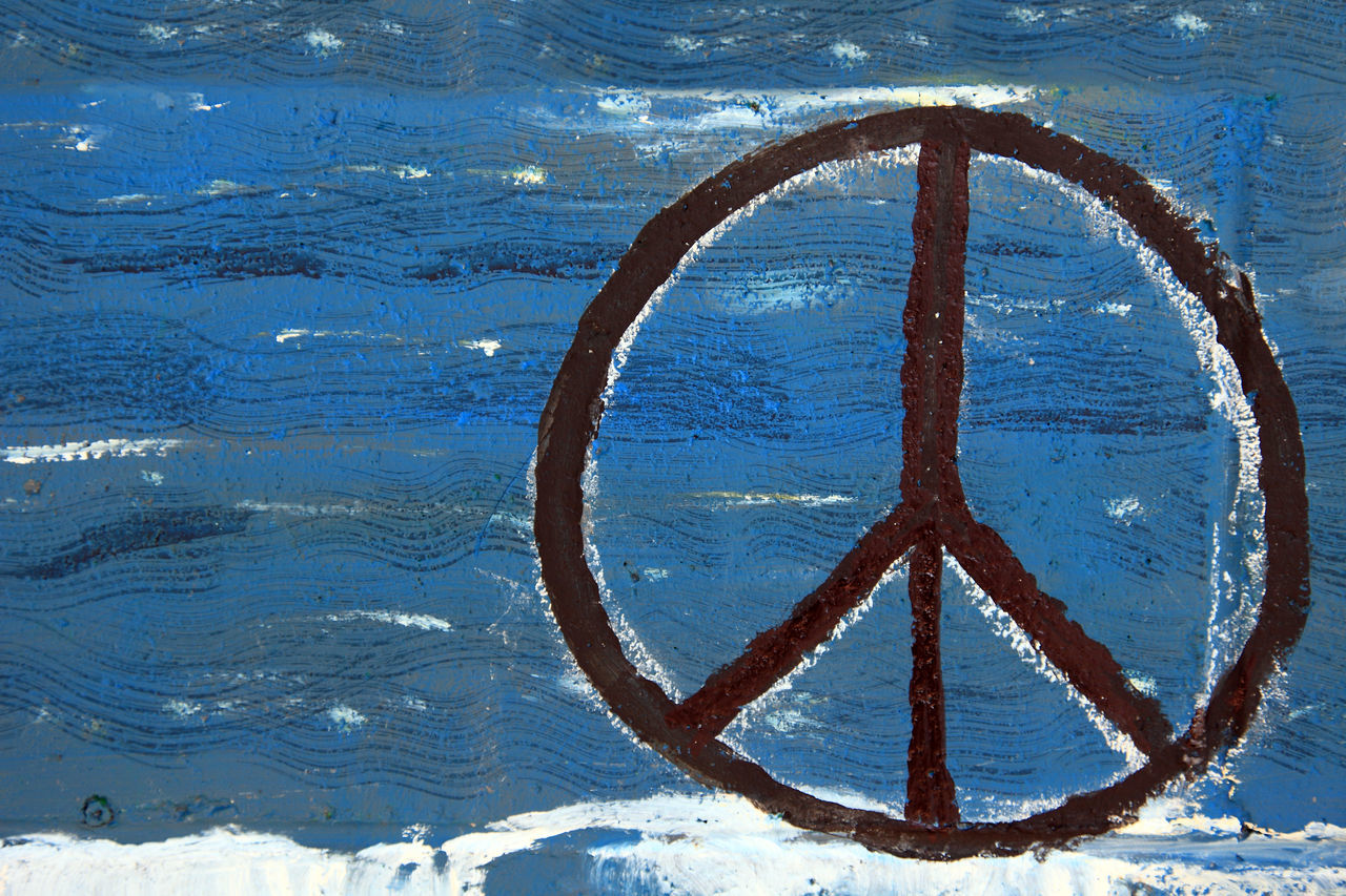 Peace sign on painted wooden board 60s 70s Freedom Hippie Hippielife Peace Peace Sign  Seventies Sixties Symbolic
